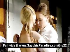 Naughty blonde and redhead lesbians kissing and having lesbiand sex outdoor