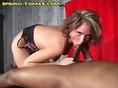 Spring Thomas makes a mammoth meat stick spew all over her face