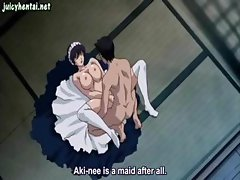 Busty brunette anime babe in white stockings is getting drilled