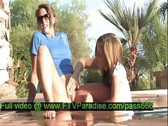 Lina amazing naked blonde girl with her girlfriend in the pool