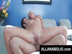 Blonde eats his cock and then gets on for a nice hard ride