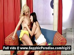 Hot blonde and brunette lesbians kissing and having lesbian sex