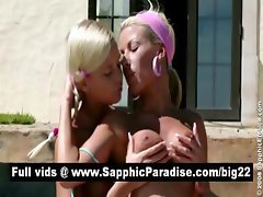 Sexy blonde lesbians licking and fingering pussy in the great outdoor