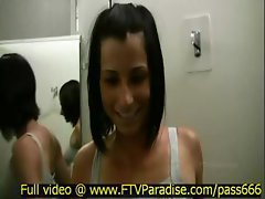 Jamee awesome beautiful brunette girl in a changing room tryes on different clothes