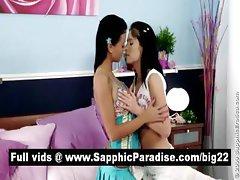Sensual brunette lesbians kissing and having lesbian sex
