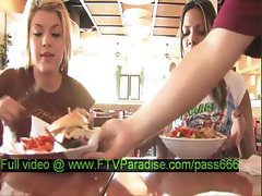 Lilah awesome nasty brunette girl in a restaurant talking