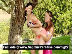 Angelic brunette and redhead lesbians kissing and licking pussy