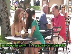 Faye and Larysa awesome two hot girls at a table outside