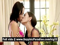 Hot brunette lesbians kissing and getting naked and having lesbian sex