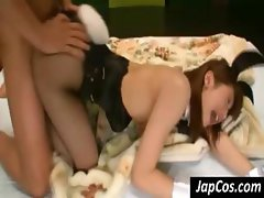 Bunny costumed Japanese bimbo drives her cunt down on his penis