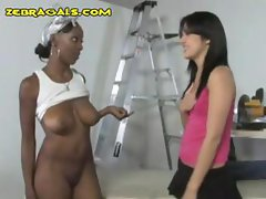 Busty ebony lesbian masturbates and then takes control of brunette
