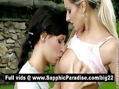 Stunning brunette and blonde lesbians kissing and having lesbian sex outdoor
