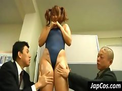 Petite Japanese fatty does some face sitting for an old geezer