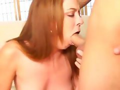 Ginger slut loves to lick while tugging