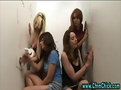Double gloryhole handjob