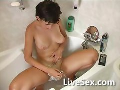 Shaving in the bathtub