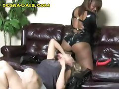 Interracial lesbians are doing some playacting and licking pussy