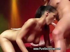 Hot babe wants his cock out to suck on stage at sex show