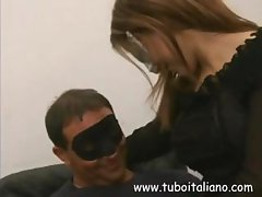 Italian couple wears masks as they do oral and bang pussy on cam