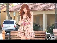 Sexy redhead teen in a short skirt part6