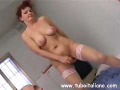 Busty Italian wife gets pussy toyed, licked, and gives head