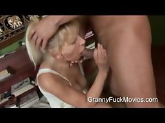 Young stud pounding a skinny granny