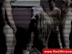 Dutch blonde hooker in a gangbang