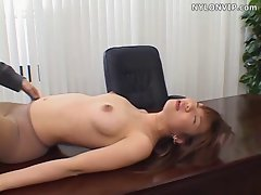 office secretary pantyhose blowjob and fucked