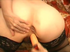 Granny in Black Lingerie and Stockings Toys Sucks and Fucks