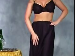 Tracey Harper gown and gloves strip