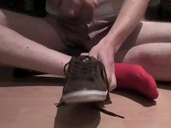 Red Puma Socks Wank and Cum