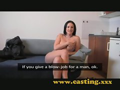 Casting - Nice natural breasts get sprayed