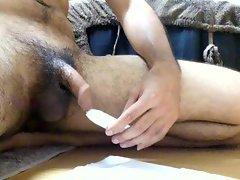 ejaculation electric toy cumshot foreskin uncut penis