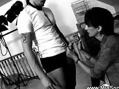 Domina masturbates in front of hermale slave