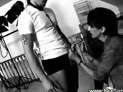 Domina masturbates in front of hermale slave