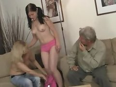 GF rides her BF s dad cock after lezzie with mom