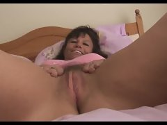 Big tits mature milf in pink slip shows off hairy pussy