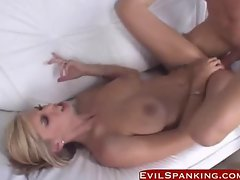 Blonde bitch spanked while fucking