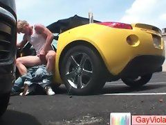 Blonde buddy getting arse hammered in vehicle part3