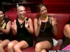 Cfnm party babes take turns