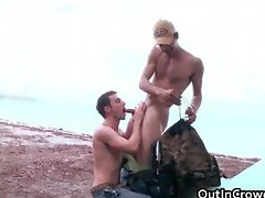Dude gets his fine cock sucked on beach part1