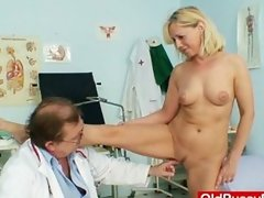 Blond milf mom filthy tits and pussy exam