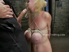 Busty whore tied like a hog deepthroat