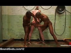 Two black gays flog and enema white bound gay