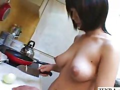 Nudist Japanese housewife cooks dinner