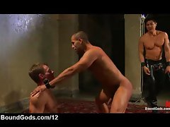 Gay gets hard whipped his ass by master