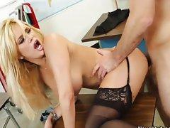 Shyla Stylez huge tits bounce from student