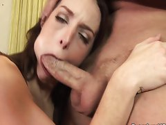 Riley Shy sucking deep and gets facial