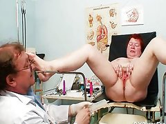Ugly redhead woman hairy vagina examination