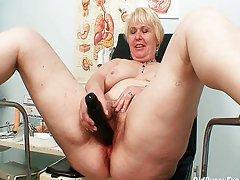 Chubby blonde mom hairy pussy exam